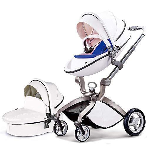Hot Mom Cochecito de Bebe 2020 Multifuncional Sistemas de viaje, buenos amortiguadores, asiento regulable en altura, reversible, color blanco