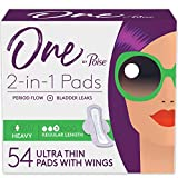 One by Poise Feminine Pads with Wings (2-in-1 Period & Bladder Leakage Pad for Women), Heavy Absorbency, 54 Count (3 Packs of 18)