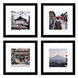 25角 正方形 木製 壁掛け 置き兼用 額 写真フレーム 写真立て フォトフレーム (ブラック 4点)