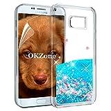 OKZone Funda Galaxy S7 Edge [con Protector Pantalla], Brillo Brillante Liquida 3D Sparkly Liquid diseño Creativo TPU Fundas Protectora a Prueba de Case para Samsung Galaxy S7 Edge (Corazón Azul)