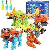Tacobear 3PCS Dinosaurios Juguetes para Niños Juguetes de Montaje con Destornillador Juego Construccion Puzzle Dinosaurios Bricolaje Desmontar Juguete para Niños Niñas