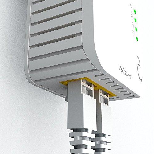 STRONG Powerline WLAN 500 KIT - Netzwerkadapter Set 1 Powerline WiFi Adapter + 1 Powerline Adapter (bis 500 Mbit/S, integrierte Steckdose, Fast-Ethernet-LAN, Powerlan) Weiß