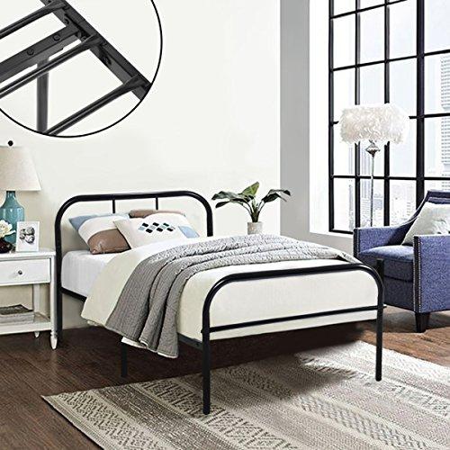 Structure en métal pour lit simple Coavas, 91x198 cm, unisexe avec 10 pieds en métal et cadre de lit intégré - Noir