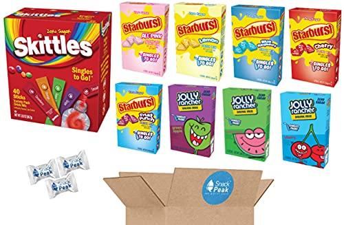 Flavored Water Powdered Drink Mix Singles Variety Snack Peak Gift Box – Skittles, Starburst and Jolly Rancher