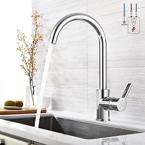 BONADE Niederdruckarmatur Küche Spültischarmatur 360° Schwenkbare Küchenarmatur Messing Wasserhahn Einhandmischer Verchromte Spülbecken Armatur für Küche Waschbecken
