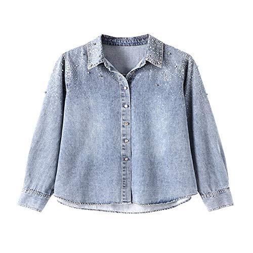 HUA JIE Gypsophila Hot Rhinestone Denim Shirt Spring Long-Sleeved Top Loose Denim Shirt
