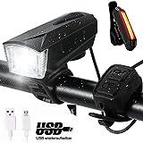 Nabowei luz de Bici, Luz Bicicleta con Sirena + Luz Trasera de Bicicleta Carga Inteligente 6 Modalidades de Iluminación