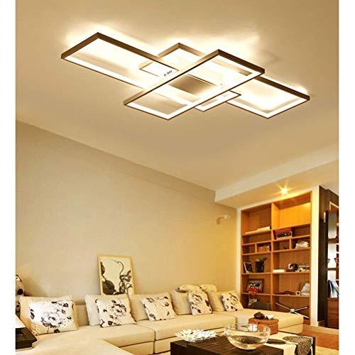 Wohnzimmerlampe Modern LED Decke Dimmbar Acryl Lampenschirm Deckenleuchte Chic Eckig Designer-Lampe Esszimmer Esstischlampe Fernbedienung Pendelleuchte Küche Landhaus Flur Leuchten, White Frame
