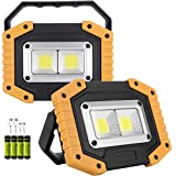 OTYTY COB 30W 1500LM LED Work Light 2 Pack, Rechargeable Portable Waterproof LED Flood...