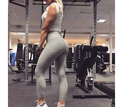 Tik tok Leggings Women's Ruched Butt Lifting High Waist Yoga Pants Tummy Control Stretchy Workout Leggings Textured Booty Tights Gray L