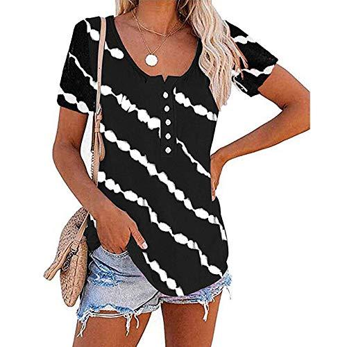 Femmes Tops Casual Twill Print Coton T-shirt Bouton Col Rond Manches Courtes Tunique Blouse (L,Noir)