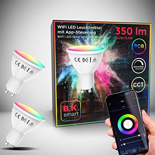 Lampadine LED smart RGB GU10, set di 2, luce calda fredda colorata, dimmerabili con lo smartphone, funziona con App per iOS e Android, Amazon Alexa, Google Home, lampadine Wi-Fi, 5.5W 350Lm