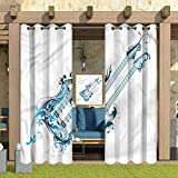 ParadiseDecor Guitar Home Fashions Curtain Solid Ring Top Blackout Drapes Two Fretboards Double Neck 118' W x 95' L