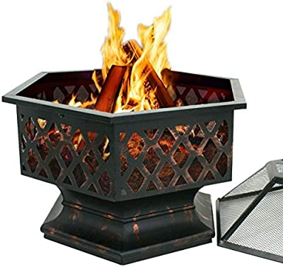 Fire Pit Fireplace, 24 Inch Hexagon Firepit Bronze with Spark Screen Cover, Wood Burning Coal Pit Fire Bowl Stove for Camping Patio Garden Backyard (US Stock)