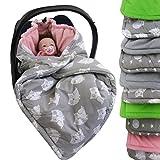 BAMBINIWELT Einschlagdecke, Decke für Babyschale, 3 und 5 Punkt-Gurt-System (grau-rosa Eulen)