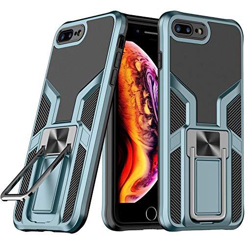 LaimTop iPhone 8 Plus Funda, Doble Capa con Soporte de Metal, Resistente a Golpes, Grado Militar Protección contra Caídas Carcasa para iPhone 7 Plus / 8 Plus Cian