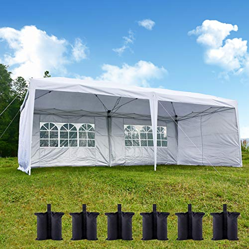 charaHOME 10x20 Canopy Tent Pop Up Portable Shade Instant Folding Heavy Duty Outdoor Gazebo with 4 Removable Sidewalls for Outdoor Party Wedding Commercial Activity Pavilion BBQ Beach (10X20 White)