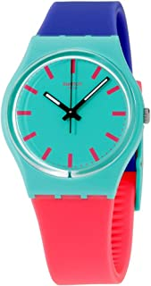 Swatch Shunbukin Teal Dial Plastic Silicone Quartz Ladies Watch GG215