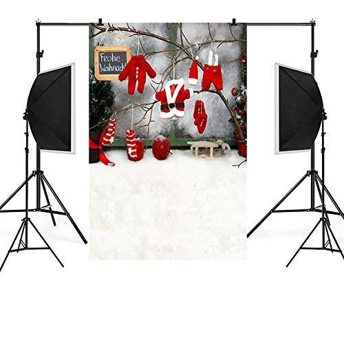 Lester Nell Weihnachten Foto 3D Studio Hintergrund Durable Weihnachten Kamin Hintergrund Vintage Weihnachtsbaum StrüMpfe Fotografie Hintergrund PorträT Photobooth Party Banner Dekorationen 90X150Cm