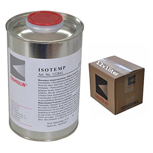 ISOTEMP - VPE: 12 x 1 L Dose - Besonders temperaturfester Silikon-Isolierlack - ITW Cramolin - 122841 - hitze-, feuchtigkeits- und witterungsbeständiger Isolierlack, inkl. 6 St. DEWEPRO® SingleScrubs
