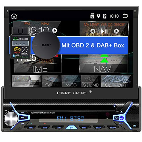 Tristan Auron BT1D7022A Android 10.0 Autoradio + OBD 2 und DAB+ Box I 7'' Touchscreen ausfahrbar I CD DVD GPS Navi 32GB Bluetooth Freisprecheinrichtung I USB SD DAB Plus 1 DIN