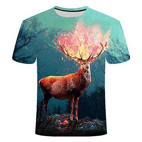 Wijider Chemise Manche Courte Homme,Unisex T-Shirt 3D Printed Fire Deer Pattern,Men's Short Sleeve Tops Tees Summer Breathable Tee Shirt-XXXL