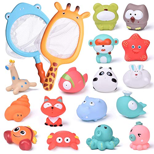 FUN LITTLE TOYS 18 PCs Baby Bath Toys with Soft Cute Ocean Animals Bath Squirters and Fishing Net, Water Toys for Kids