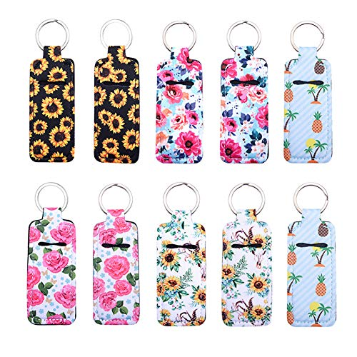 HooAMI Clip-on Sleeve Chapstick Pouch Keychain Lipstick Holder Elastic Lip Balm Holster Travel Accessories 10 Pieces