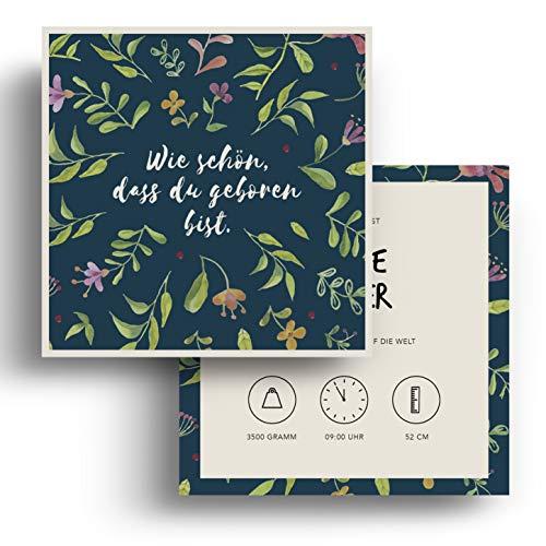 (10 x) Geburtskarten Danksagungskarten Geburt Baby Karte Dankeskarte Blumen Mädchen