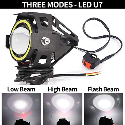 LEDUR Motorcycle Headlight Led U7 DRL Fog Driving Running Light with Angel Eyes Lights Ring Front Spotlight Strobe Flashing White Light and Switch 2PCS,White Halo