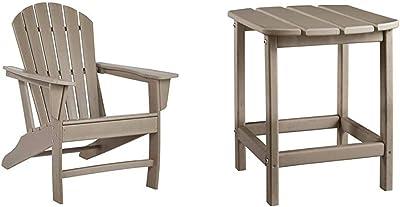 Signature Design by Ashley - Sundown Treasure Outdoor Adirondack Chair - Light Brown & Design by Ashley P014-703 Sundown Treasure Rectangular End Table, Grayish Brown