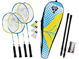Talbot Torro Set de Badminton Family, Juego Completo Junior de 53 cm, 2 Raquetas Estándar, 3 Volantes, Red de Altura Ajustable, en un Valioso Bolso, 449407