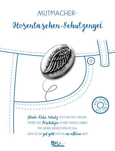 ART + emotions Hosentaschen Schutzengel - Glücksbringer und Mutmacher - 925 versilberte Münze aus Metall - Glücksbringer Talisman Trostspender Mutmacher