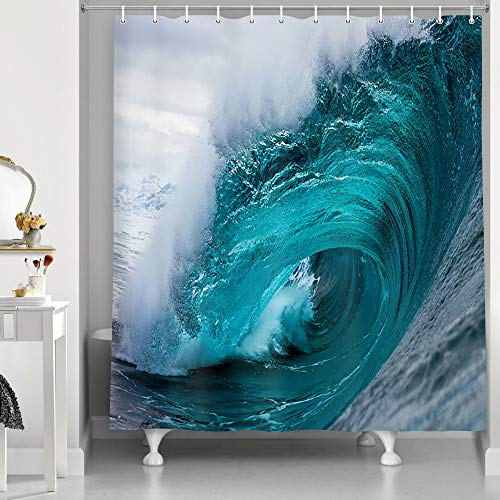 NYMB Aqua Ocean Seawater Shower Curtain, Polyester Fabric...