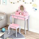 Hadwin - Juego de tocador y taburetes para niñas con espejo giratorio, juego de mesa de maquillaje de princesa europea con 3 cajones, 3 – 8 años, color gris y rosa