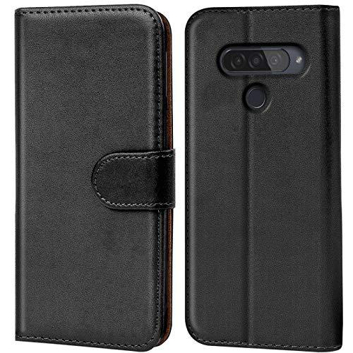 Verco kompatibel mit LG Q60 Hülle, Handyhülle für LG Q60 Tasche PU Leder Flip Hülle Brieftasche - Schwarz