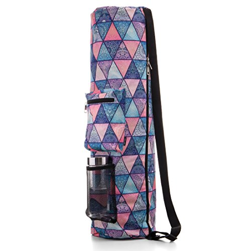 RoryTory Yoga Mat Bag w/Adjustable Strap, Water Bottle Carrier, Inner & Outer Pockets, Heavy Duty & Machine Washable - Fits Most Yoga Mat Sizes (Blue/Pink Pyramids)