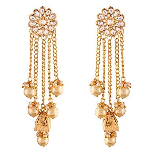 I Jewels - Pendientes de perla chapados en oro y Kundan para mujer (E2606FL)