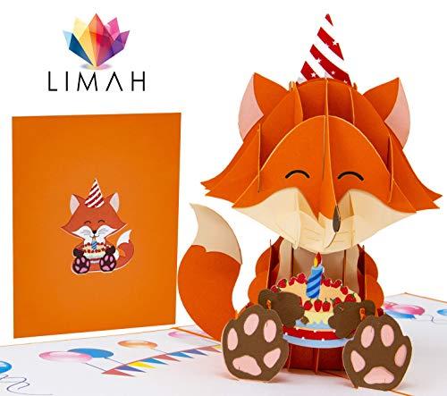 LIMAH® Pop Up 3D Grußkarte/Geburtstagskarte, Einladungskarte, Geschenkkarte/Fuchs Motiv/für Kinder/in Orange/Groß