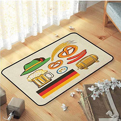 Yaoni De la Sala de conferencias, para la decoración casera al Aire Libre Interior de la Alfombra Alfombras hogar | Símbolos de Oktoberfest alemán Salchicha de Trigo Cerveza y Pretzels Color