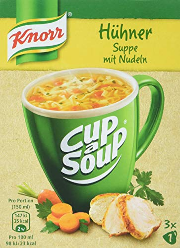 Knorr Cup a Soup Hühnersuppe mit Nudeln Instant Suppe 3 Tassen, 12er Pack (12x27gr)