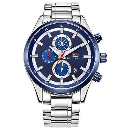 JTTM Reloj De Cuarzo para Hombre Calendario Analógico Multifunción 30M Impermeable Cronógrafo Correa De Acero Inoxidable Relojes para Hombre,Azul
