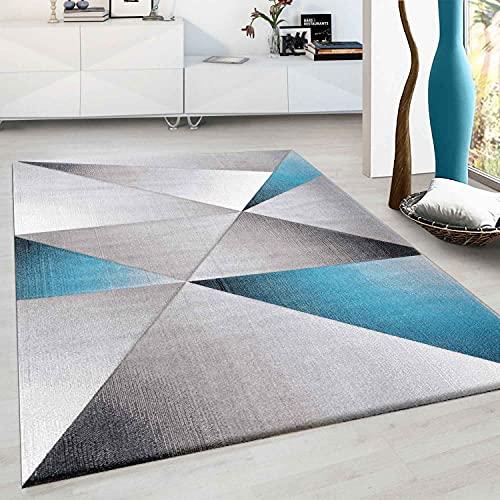 VIMODA Designer Teppich Modern Geometrische Muster Kurzflorig Grau Schwarz Turkis Meliert, Maße:120 x 170 cm