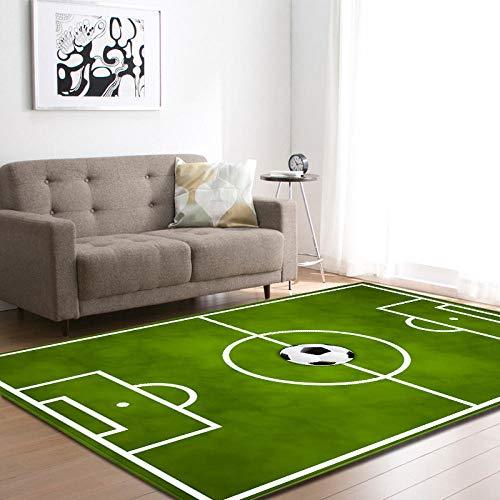 CCTYJ 3D Fußball Fußballplatz Teppich Teppiche Kinder Spielen Bett Raumdekoration Matte rutschfeste Flanell Nachtbereich Teppich Salon Wohnzimmer