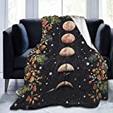 MSGUIDE Moon Phase Flannel Throw Blanket for Kids Adult, Anti-Pilling Cozy Bed Blanket Lightweight Microfiber Blankets for Couch/Bed/Sofa/Office Suitable for All Season (50' x 40')