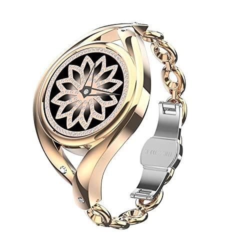 Reloj inteligente femenino 1.1 pulgadas DIY Relojes Monitoreo de ritmo cardíaco Señoras Smartwatch para Android lem1995 4 Star Crystal Diamond, (Color: Plata) (Color: Oro) (Oro)