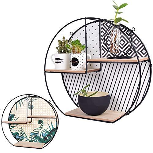 LIVONDO® Estantería de pared de diseño con parte trasera intercambiable, estantería flotante para colgar o colocar de pie, estante colgante decorativo