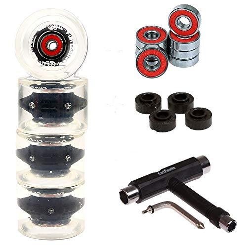 FunTomia 4 Stück (LED) Longboard/Skateboard Rollen (Big Wheels) in 70x51mm 80A inkl. Mach1® Kugellager und Metall Spacer 80A Rollenhärte + T-Tool