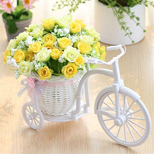 Fahrrad Künstliche Blumen Handweb Körbe Handgemachte Rattan Fahrrad großes Rad-Fahrrad-Anlagen stehen Mini Garten für Hauptdekoration (A5)