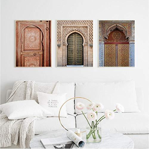 Wandkunst Alte Tore Marokko Tür Leinwand Malerei Vintage Poster Kunstwerk Bilder Architektur Gedruckt für Wohnzimmer 40x60cmx3 ungerahmt